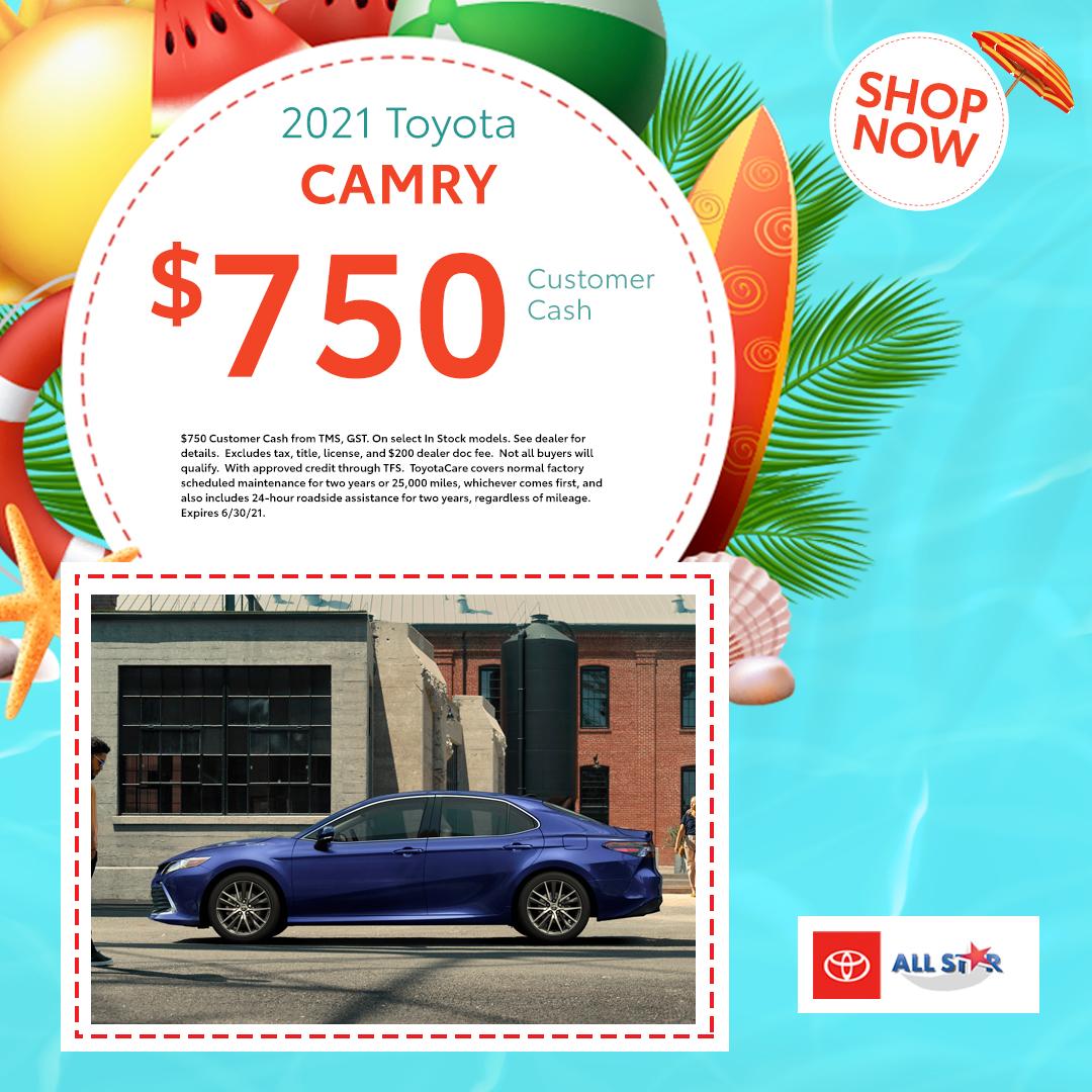 $750 2021 Toyota Camry