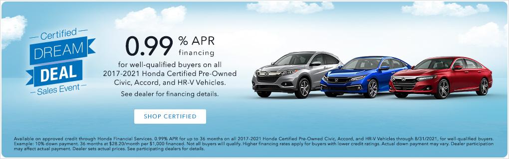Certified Dream Deal 0.99 APR