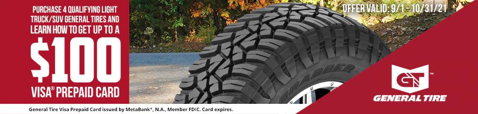 General Tires - Up to $100 Visa Prepaid Card
