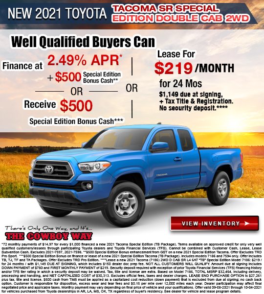 New 2021 Toyota Tacoma SR Special Edition Double Cab 2WD
