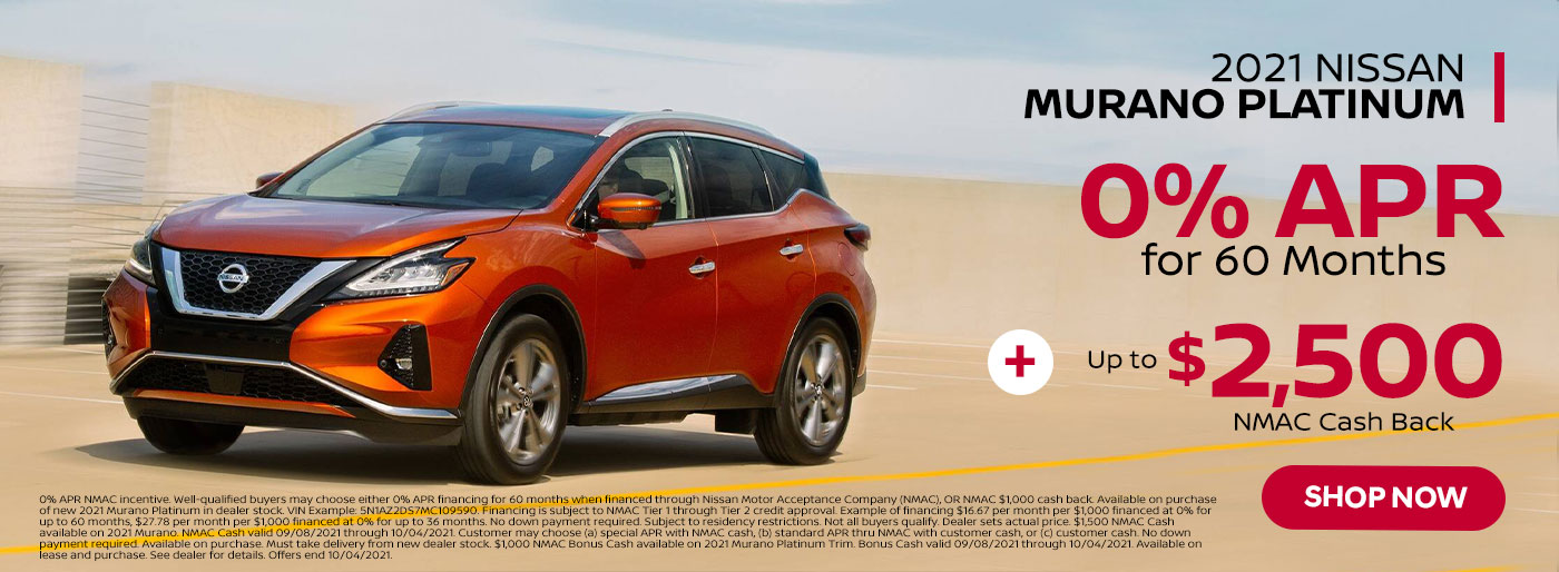 2021 Nissan Murano Platinum September 2021 Special Offer from Nissan of Jeff City in MO