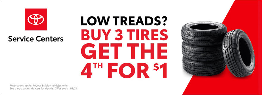 Low Treads? Buy 3 Tires Get the 4th for 1$