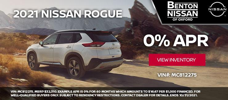 2021 Nissan Rogue at 0% APR