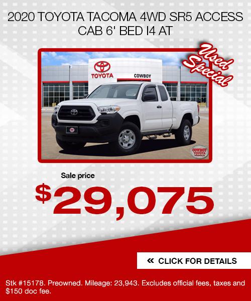 2020 Toyota Tacoma 4WD SR5 Access Cab 6' Bed I4 AT