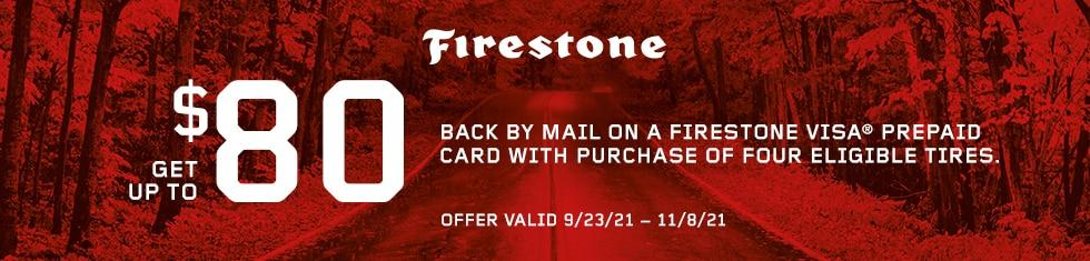 Firestone Tires - Up To $80 Visa Prepaid Card