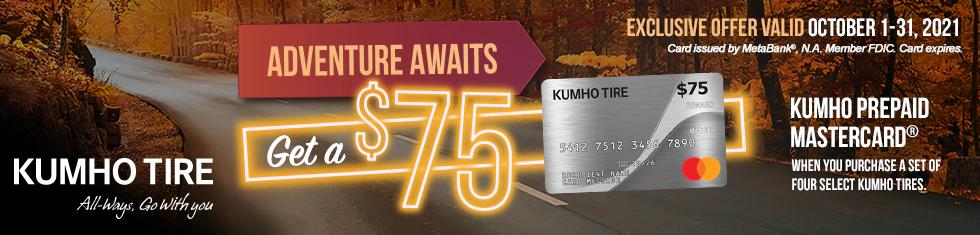 Kumho Tires - $75 Prepaid Mastercard